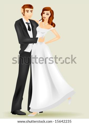 Bride and Groom - Vector - stock vector