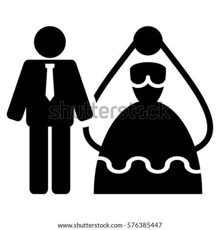 Bride Groom Vector Icon Symbol Flat Stock Vector Royalty Free