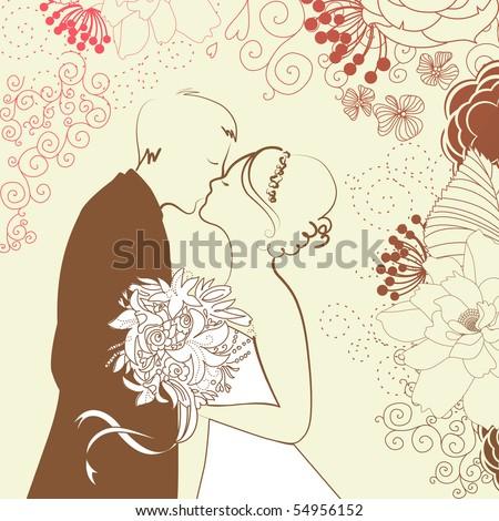 Bride and Groom. Wedding Background - stock vector