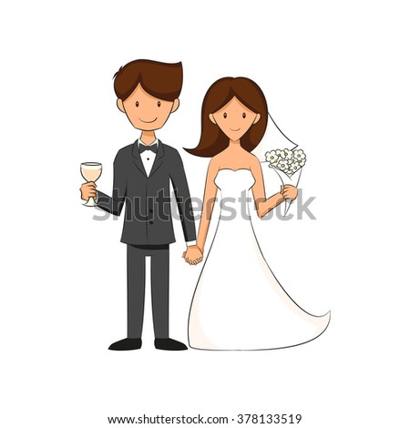 Bride and groom, wedding celebration, vector illustration