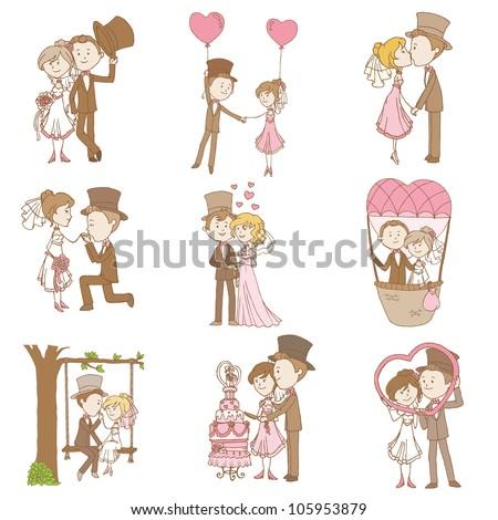 Bride and Groom - Wedding Doodle Set - Design Elements for Scrapbook, Invitation in vector - stock vector