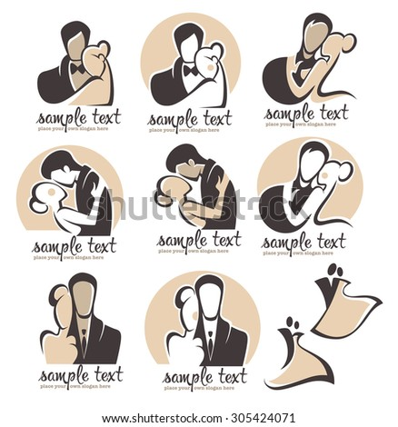 bride and groom, wedding icons emblems logo - stock vector