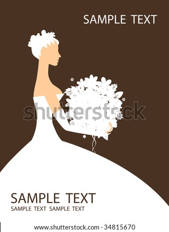 Bride beautiful with bouquet - stock vector