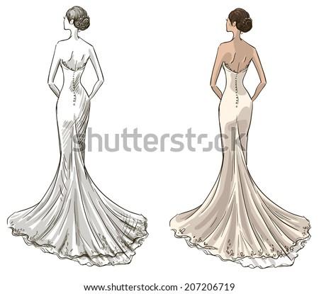 Girl in wedding dress drawings