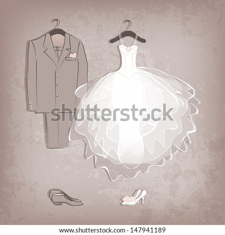 bride dress and groom's suit on grungy background - vector illustration - stock vector