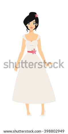 Bride girl in white dress and modern bride girl. Bride girl model bridal pretty glamour romantic lady. Woman wearing wedding white dress fashion bride girl luxury young person character vector. - stock vector