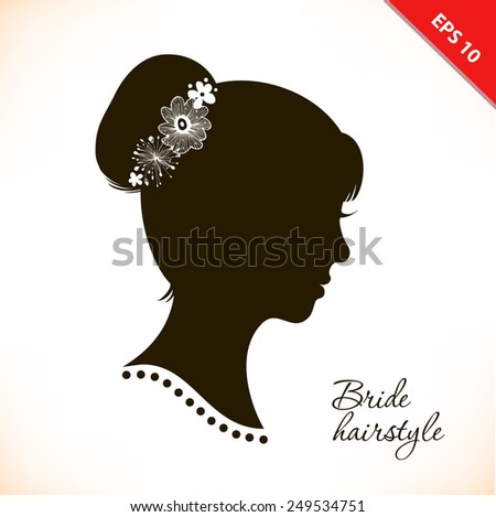 Bride hairstyle. Beautiful illustration with woman head silhouette. Vector isolated woman half face. Wedding symbol. Vintage romantic image of girl portrait. Beautiful lady coiffure  - stock vector