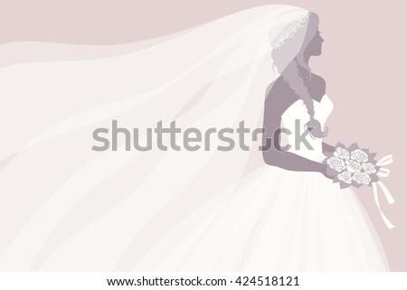 Bride Wedding Dress Holding Bouquet Vector Stock Vector 424518121 ...