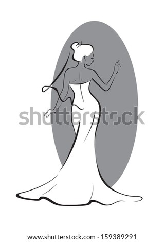 bride in front of the mirror Bride in front of the mirror. Line art.  Easy to edit separate layers. - stock vector