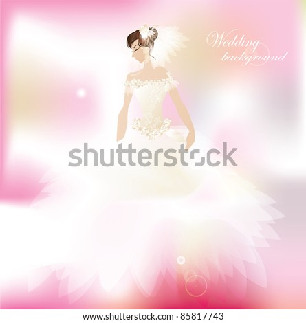 Bride on romantic  pink background - stock vector