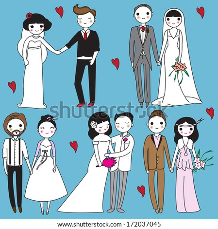 Brides and grooms illustration - stock vector