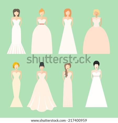 Brides In Different Styles Of Wedding Dresses Made Modern Flat Vector Style Choose Your