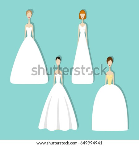Brides Different Styles Wedding Dresses Vector Stock Vector ...