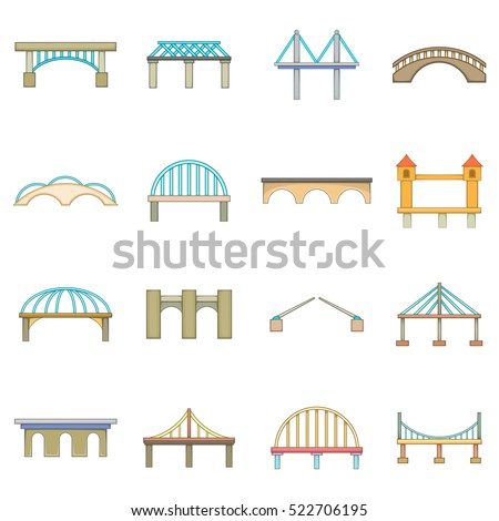 Bridge construction icons set. Cartoon illustration of 16 bridge construction vector icons for web