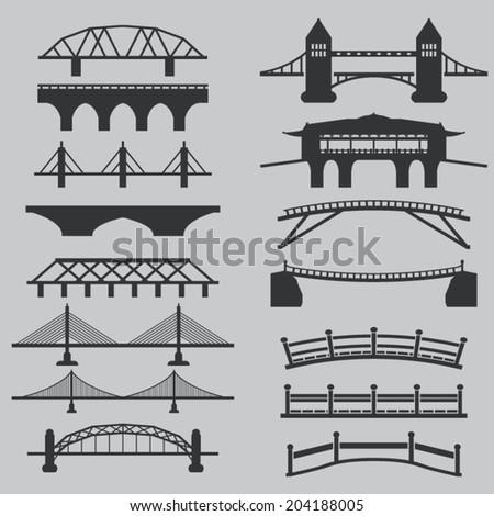 Bridge icons set  - stock vector