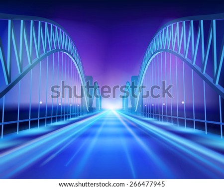 Bridge in the night. Vector Illustration.  - stock vector