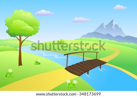 Bridge river summer landscape day illustration vector - stock vector