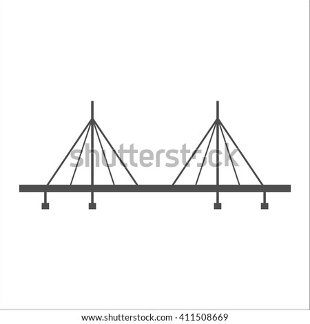 Bridge, suspension, rope icon vector image.