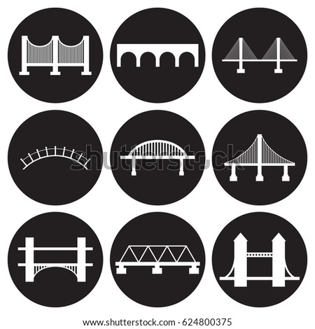 Bridges icons set. White on a black background