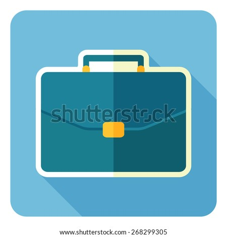 Briefcase flat design icon. Vector illustration. - stock vector