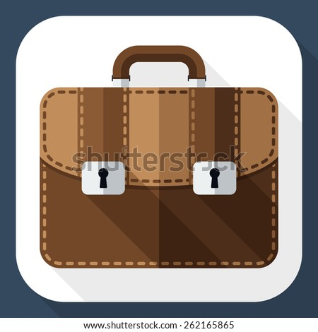 Briefcase flat icon with long shadow