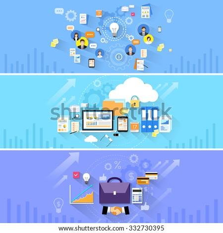 Briefcase Handshake Computer Cloud Storage Social Media Communication People Banner Set Flat Vector Illustration - stock vector