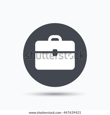 Briefcase icon. Diplomat handbag symbol. Business case sign. Flat web button with icon on white background. Gray round pressbutton with shadow. Vector - stock vector