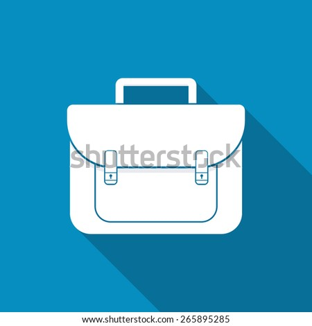 Briefcase icon in flat style - stock vector