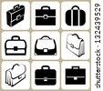 briefcase icons set - stock vector