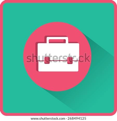 Briefcase illustration. Flat vector icon. - stock vector