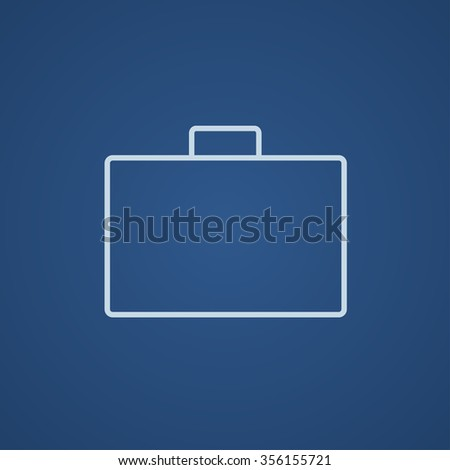 Briefcase line icon for web, mobile and infographics. Vector light blue icon isolated on blue background.