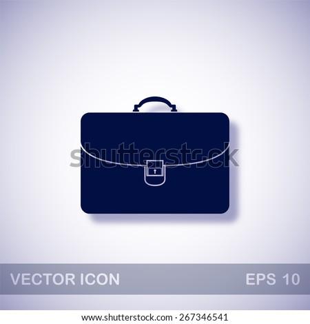 Briefcase vector icon - dark blue illustration with blue shadow - stock vector