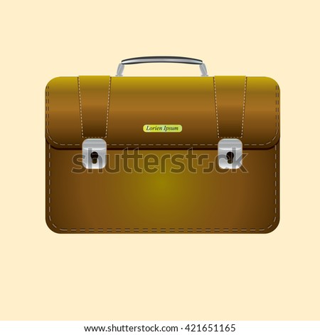 Briefcase vector illustration. Briefcase business. Briefcase icon. Briefcase isolated on colored background. Briefcase with lock. Briefcase male brown. - stock vector
