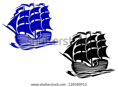 Brig sail ship in ocean water for travel or another design. Jpeg version also available in gallery - stock vector