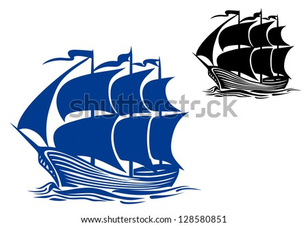Brigantine sail ship for travel or another design. Jpeg version also available in gallery - stock vector