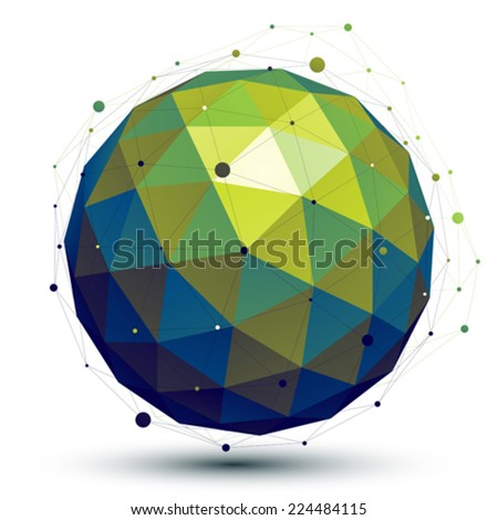 Bright abstract 3D vector network object, art symmetric spherical shiny figure. Dimensional sphere constructed from triangles. - stock vector