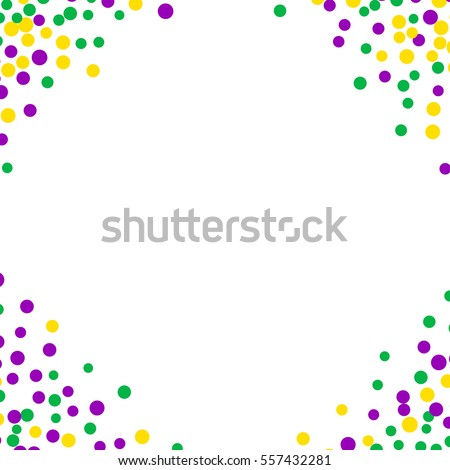 Bright Abstract Dot Mardi Gras Pattern On White Background Vector