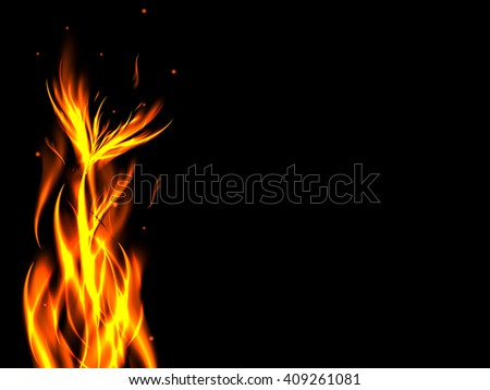 Bright abstract fire flower in flames on black background with sparks, vector illustration - stock vector