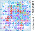 Bright abstract geometrical mosaic background with blue and red triangles. Eps10 - stock vector