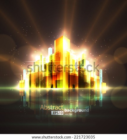 Bright abstract image of a large night city burning in lights and illumination. EPS10 vector illustration. - stock vector