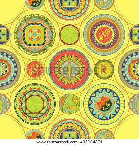 Bright abstract pattern with circles. Seamless design