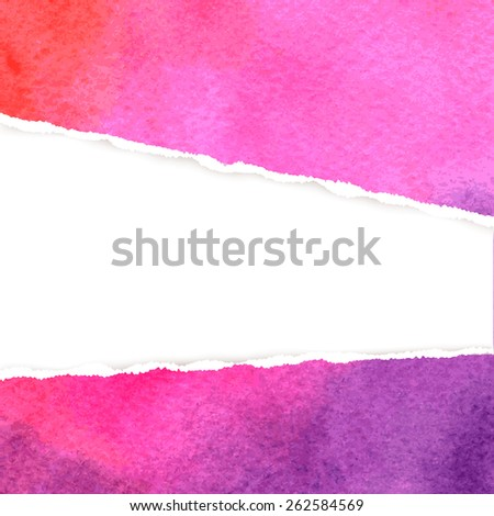 Bright abstract purple watercolor background with realistic torn paper in the middle. Vector illustration. - stock vector
