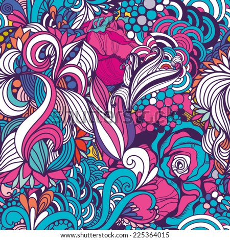 Bright Abstract seamless pattern of vintage flower pattern. - stock vector