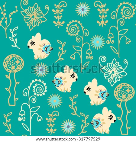 Bright  abstract seamless pattern with adorable bunnyes,  flowers and seamless pattern in swatch menu, vector image. Cute texture or backdrop  for design dishes, apparel and other purposes - stock vector