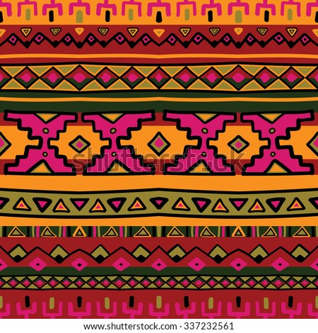 Bright acid colored ethnic South America abstract stripe vector seamless pattern. Mexican, peru or aztec motifs - stock vector