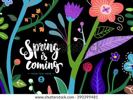 Bright and Colorful Floral Background. Child's Drawing Stylization. Mod Textile Pattern. Wedding Invitation. EPS8