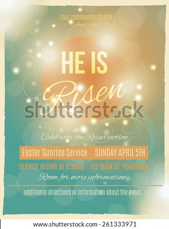 Bright and shining He is Risen Easter Sunrise Service Flyer or poster template  - stock vector