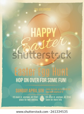 Bright and sparkling Easter egg hunt invitation flyer or poster	  - stock vector