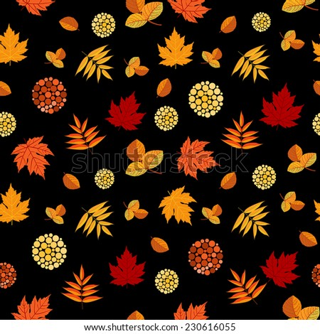 Bright Autumn leaves seamless pattern with colorful different leaves. Fall leafage colors background. Vector file is EPS8. - stock vector