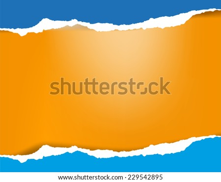 Bright azure blue torn paper background with shadow on orange background - stock vector